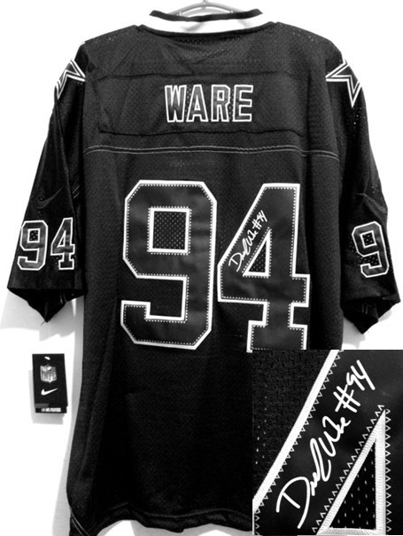 Dallas Cowboys 94 DeMarcus Ware Black Nike Elite With player signed Jersey