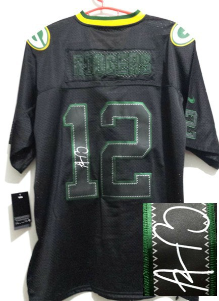 Green Bay Packers 12 Aaron Rodgers Black Nike Elite With player signed Jersey