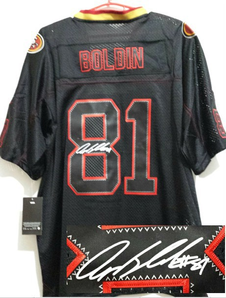 San Francisco 49ers 81 Boldin Black Nike Elite With player signed Jersey