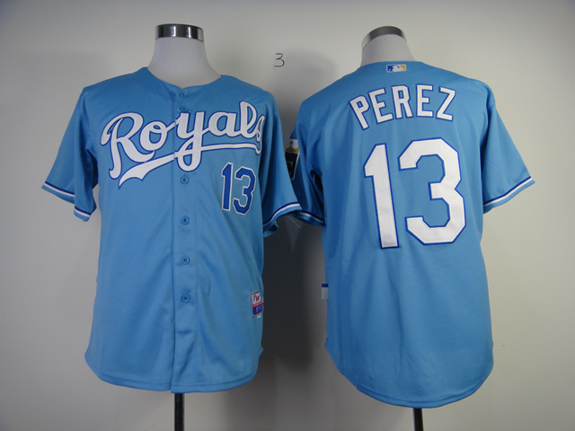 MLB Kansas City Royals 13 Perez light blue Jerseys