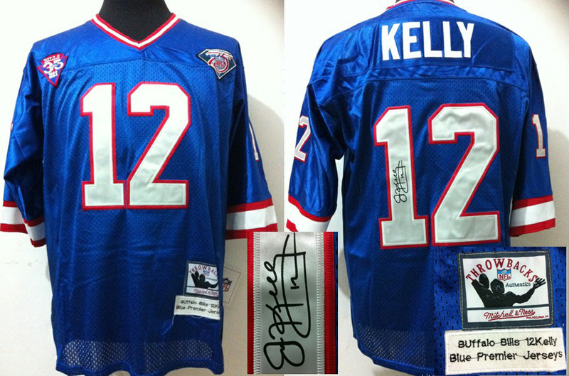 Buffalo Bills 12 Kelly Blue With player signed Throwback Elite Jersey