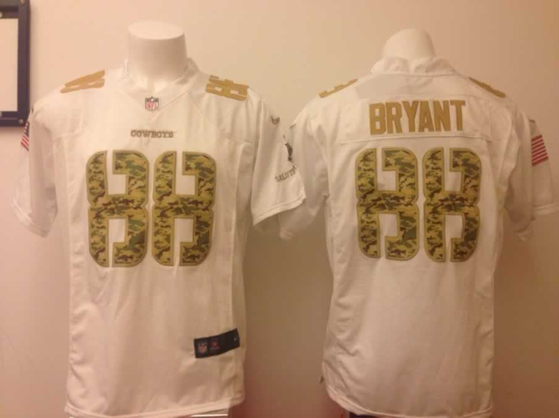 Dallas Cowboys 88 Dez Bryant White With Camo Nike Number American version Jersey