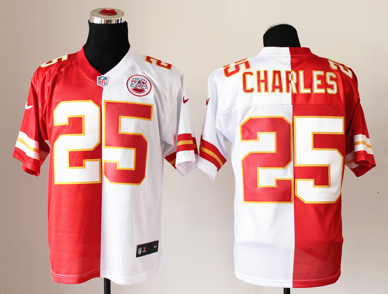 Kansas City Chiefs 25 Jamaal Charles Red And White NFL Nike Elite Split Jerseys