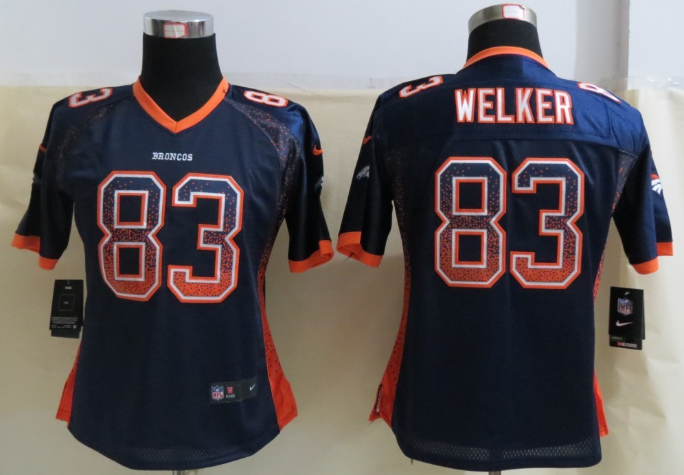 Womens Denver Broncos 83 Welker Drift Fashion Blue 2013 NEW Nike Elite Jersey