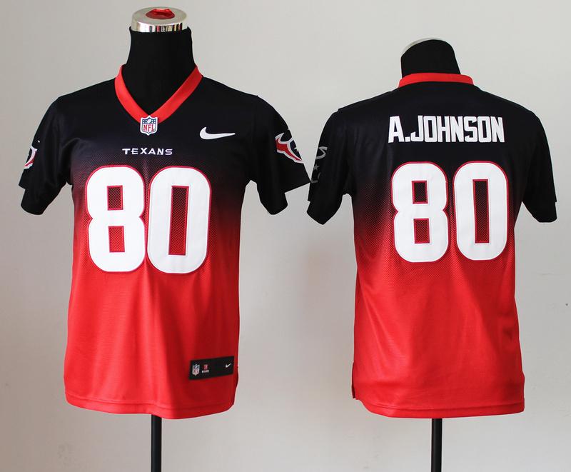 Youth Houston Texans 80 A.Johnson Black Red Nlike Drift Fashion II Elite Jerseys