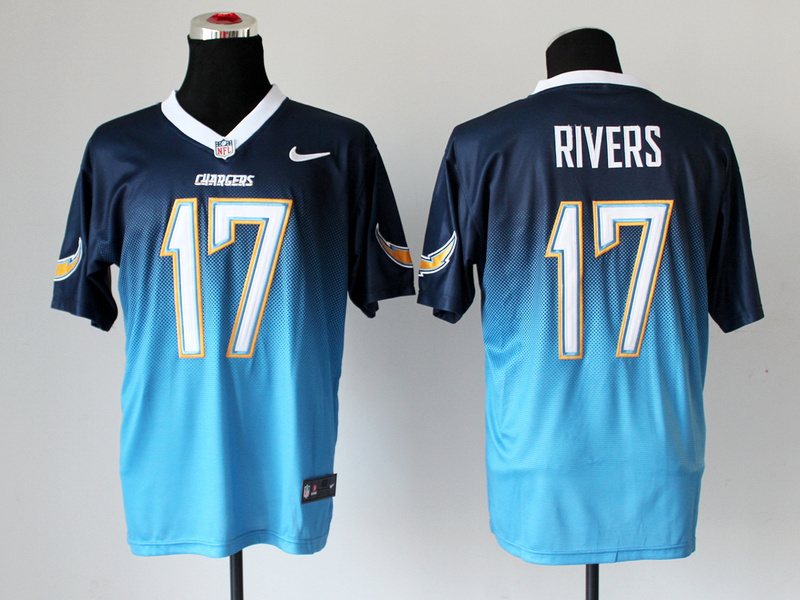 San Diego Charger 17 Rivers Dark Blue Light Blue Nike Drift Fashion II Elite Jerseys