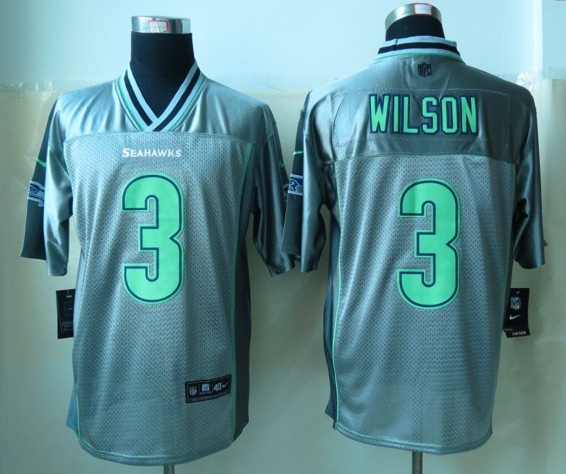 Seattle Seahawks 3 Wilson Grey Vapor 2013 New Nike Elite Jerseys