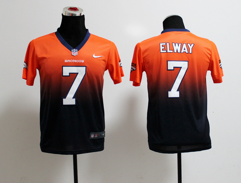 Youth Denver Broncos 7 John Elway Orange Dark Blue Nike Drift Fashion II Elite Jerseys