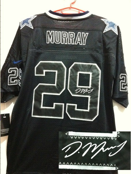Dallas Cowboys 29 Murray Black Shadow Nike Elite With player signed Jersey