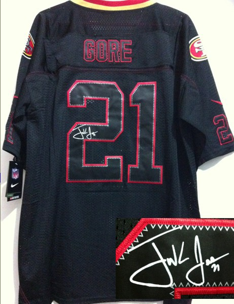 San Francisco 49ers 21 Gore Black Shadow Nike Elite With player signed Jersey