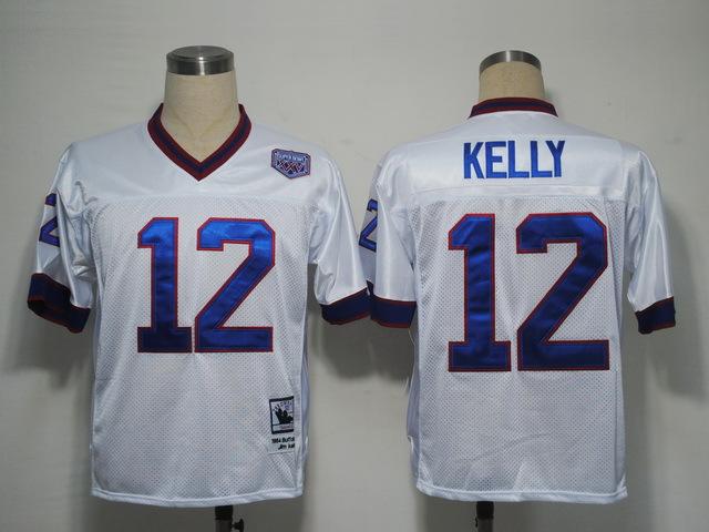 Buffalo Bills 12 Jim Kelly white Throwback Mitchell And Ness NFL Jersey