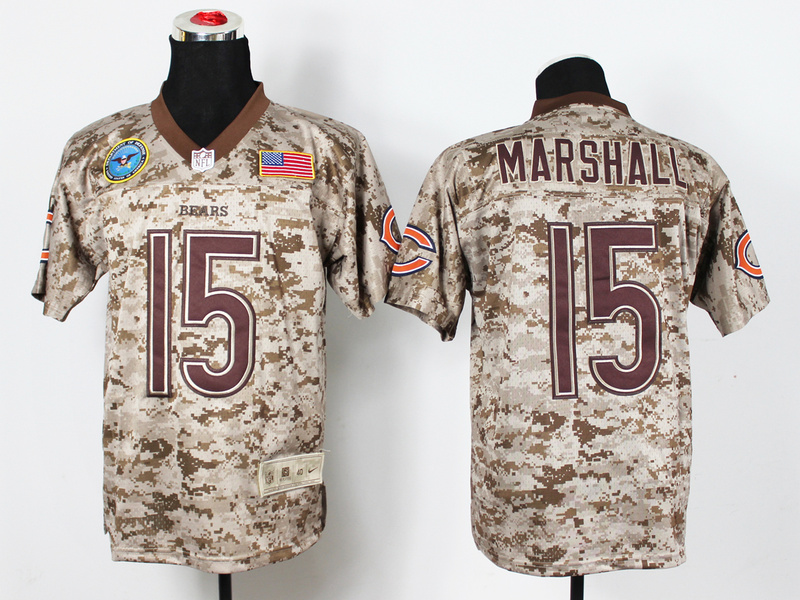 Chicago Bears 15 Brandon Marshall Digital Camo Nike Salute to Service Elite Jersey