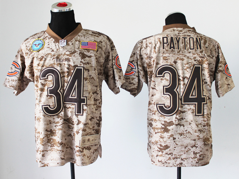Chicago Bears 34 Walter Payton Nike Elite Camo US.Mccuu 2013 New Jerseys