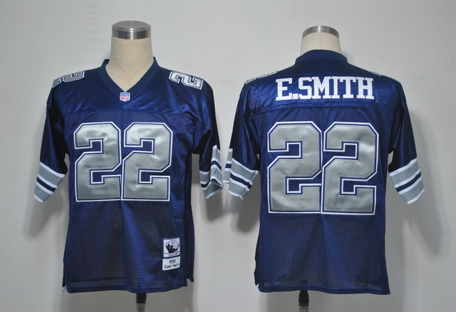 Dallas Cowboys 22 Emmitt Smith Blue Throwback Mitchell And Ness NFL Jersey