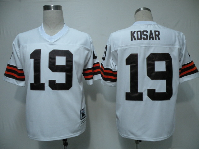 Cleveland Browns 19 Bernie Kosar White Throwback Mitchell And Ness NFL Jersey