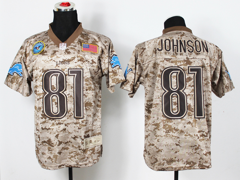 Detroit Lions 81 Johnson Digital Camo Nike Salute to Service Elite Jersey