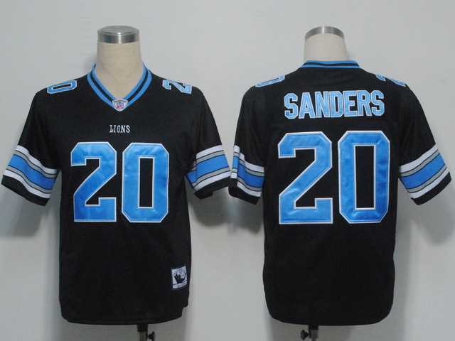 Detroit Lions 20 Barry Sanders Black Throwback Mitchell And Ness NFL Jersey