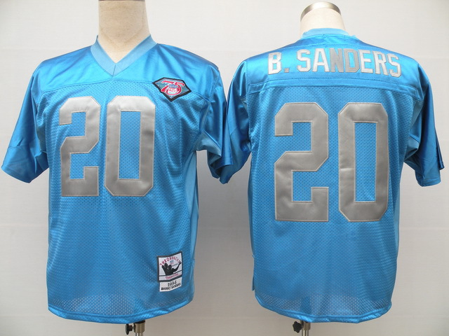Detroit Lions 20 Barry Sanders Light Blue Throwback Mitchell And Ness NFL Jersey