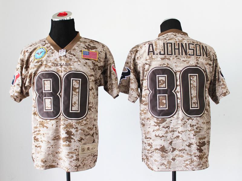 Houston Texans 80 Andre Johnson Digital Camo Nike Salute to Service Elite Jersey