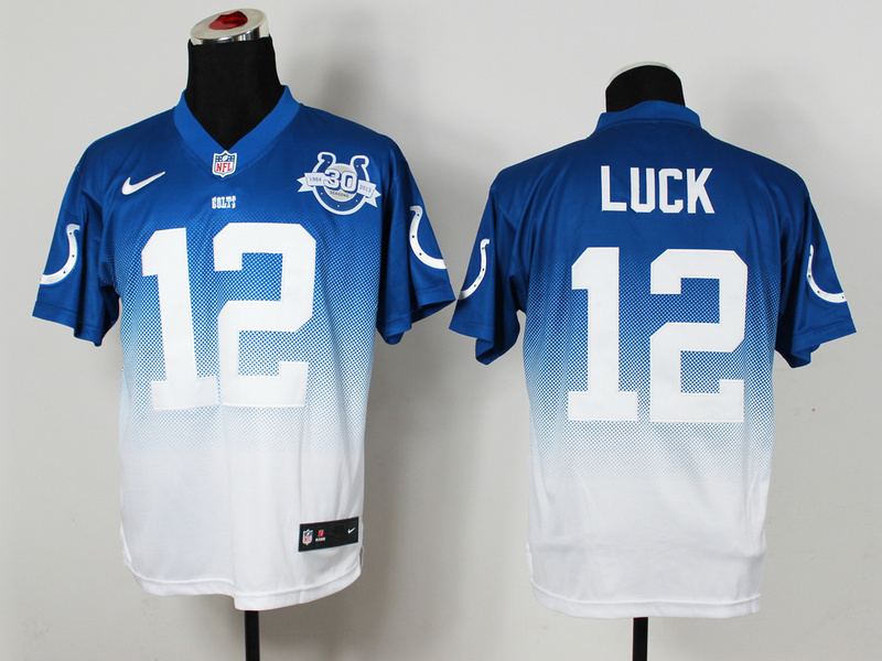 Indianapolis Colts 12 Luck Blue White 30th Nike Drift Fashion II Elite Jerseys