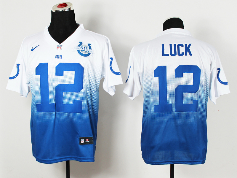 Indianapolis Colts 12 Luck White Blue 30th Nike Drift Fashion II Elite Jerseys
