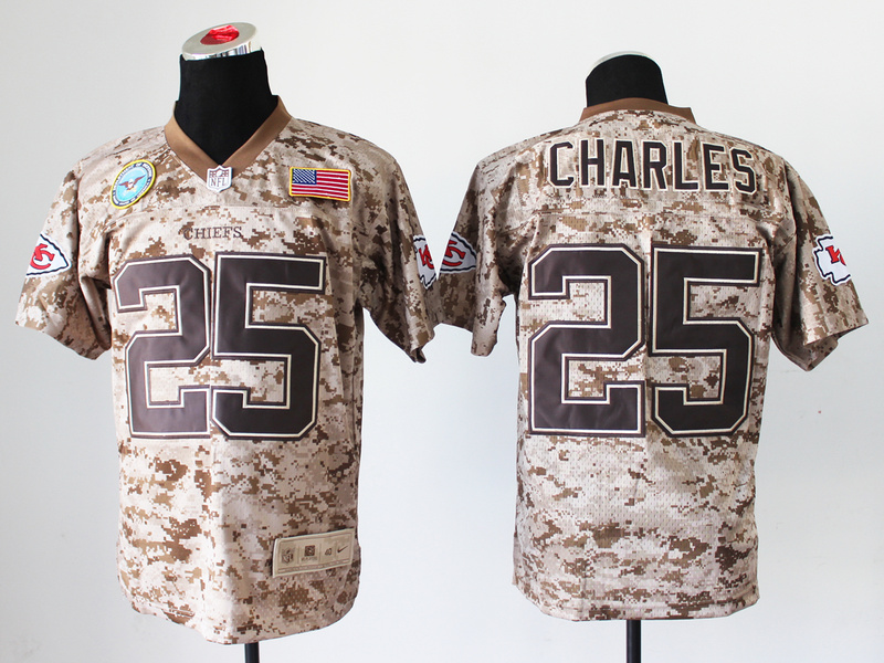 Kansas City Chiefs 25 Jamaal Charles Digital Camo Nike Salute to Service Elite Jersey