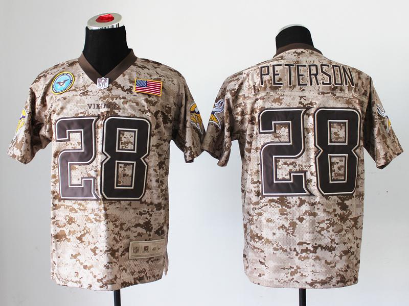 Minnesota Vikings 28 Adrian Peterson Digital Camo Nike Salute to Service Elite Jersey