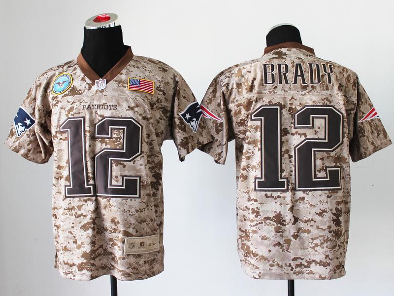 New England Patriots 12 Tom Brady Digital Camo Nike Salute to Service Elite Jersey
