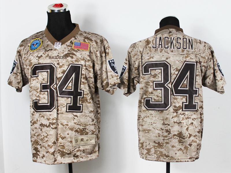 Oakland Raiders 34 Bo Jackson Digital Camo Nike Salute to Service Elite Jersey
