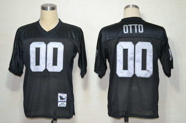 Oakland Raiders 00 OTTO Black Throwback Mitchell And Ness NFL Jersey