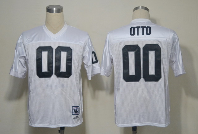 Oakland Raiders 00 OTTO White Throwback Mitchell And Ness NFL Jersey