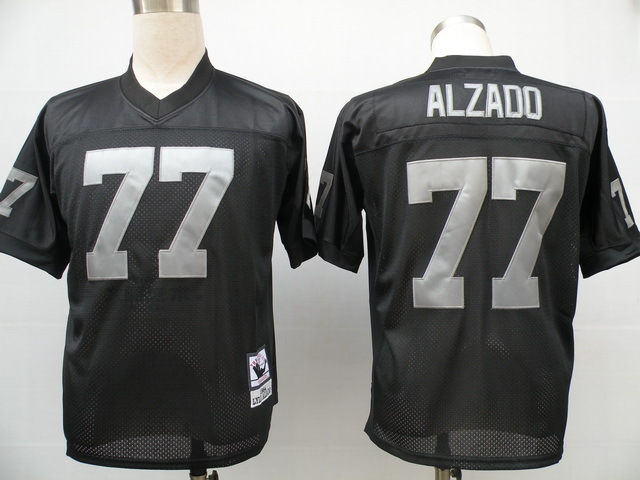 Oakland Raiders 77 Lyle Alzado Black Throwback Mitchell And Ness NFL Jersey