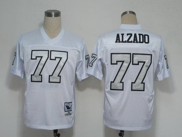 Oakland Raiders 77 Lyle Alzado White Silver Number Throwback Mitchell And Ness NFL Jersey