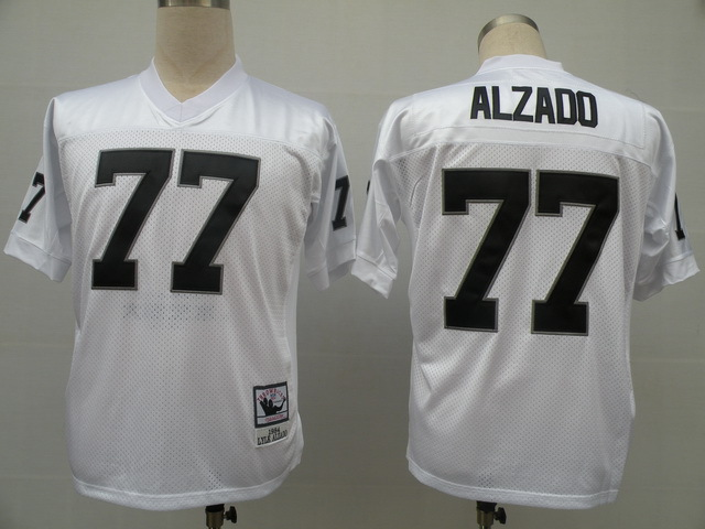 Oakland Raiders 77 Lyle Alzado White Throwback Mitchell And Ness NFL Jersey