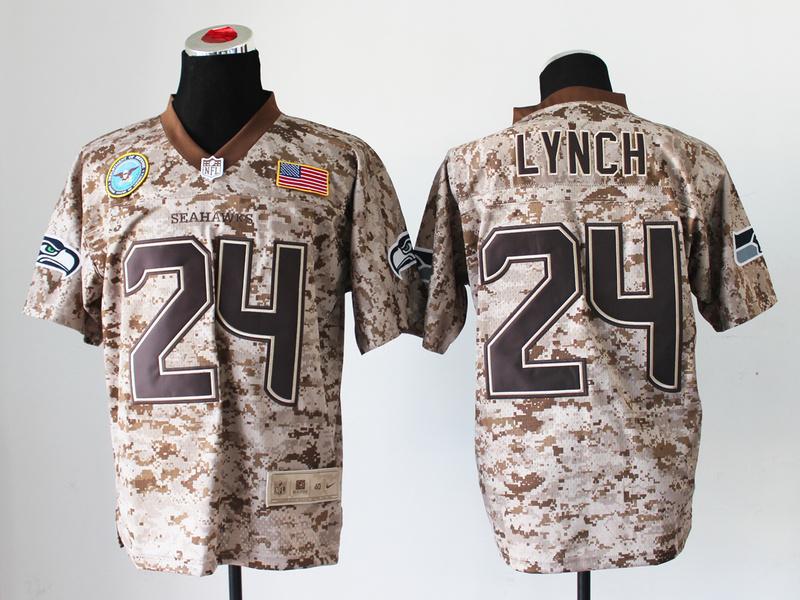 Seattle Seahawks 24 Lynch Digital Camo Nike Salute to Service Elite Jersey