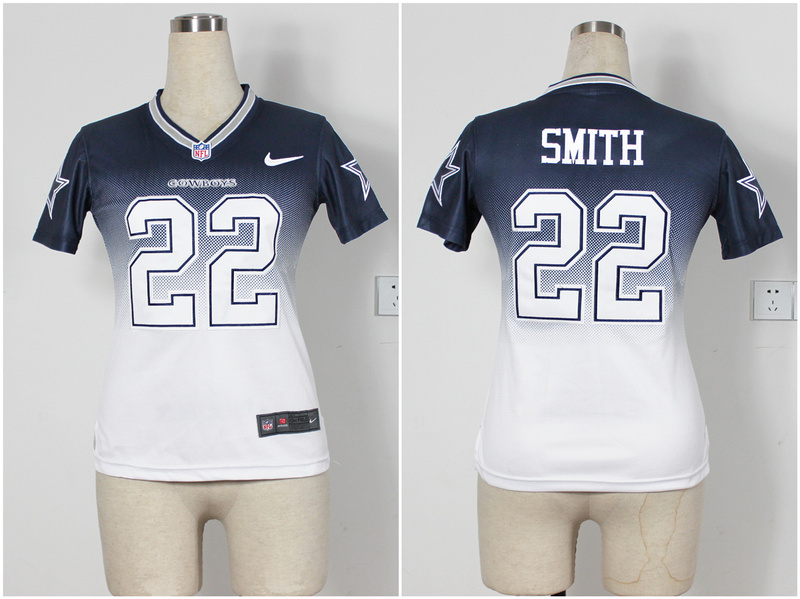 Womens Dallas cowboys 22 E.Smith Blue White Nike Drift Fashion II Elite Jerseys