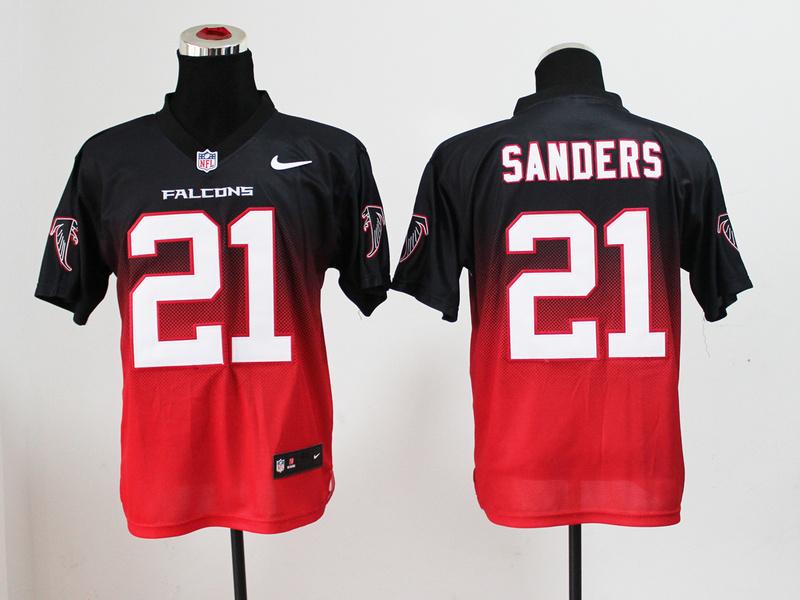 Youth Atlanta Falcons 21 Sanders Black red Nike Drift Fashion II Elite Jerseys