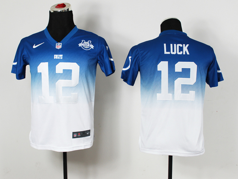 Youth Indianapolis Colts 12 Luck Blue White 30th Nike Drift Fashion II Elite Jerseys