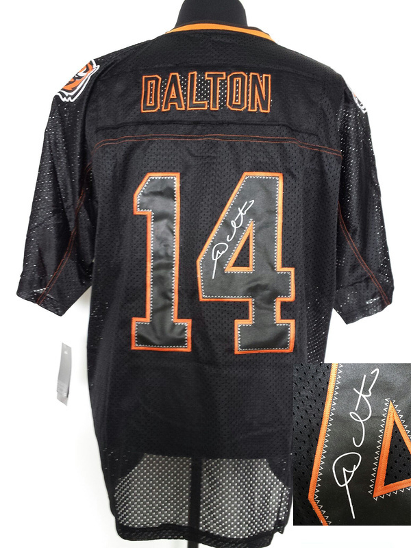 Cincinnati Bengals 14 Dalton Black Shadow Nike Elite With player signed Jersey