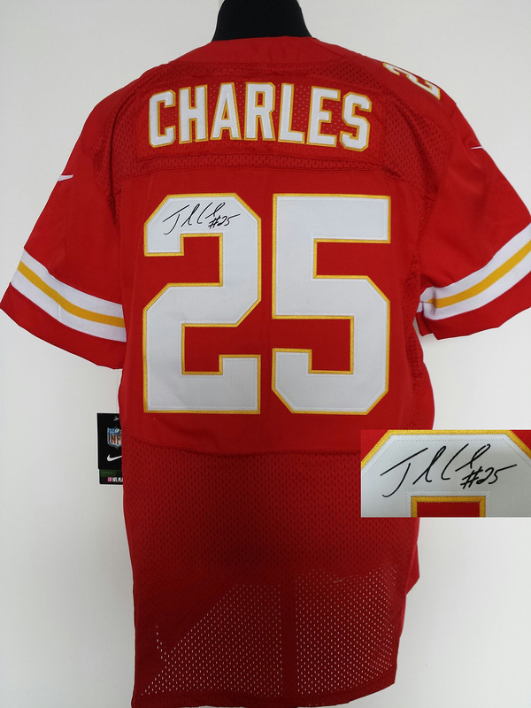 Kansas City Chiefs 25 Charles red Nike Elite With player signed Jersey