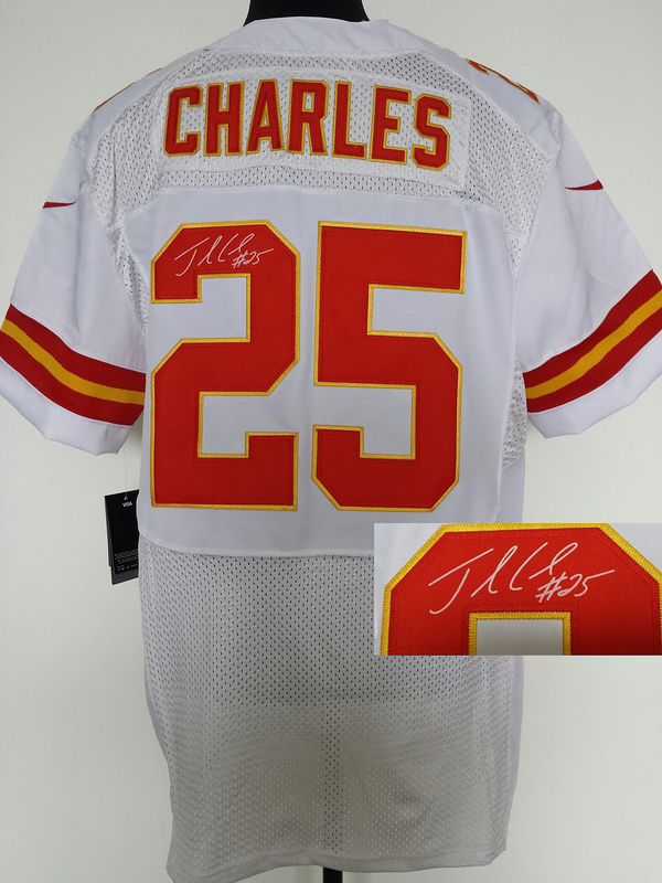 Kansas City Chiefs 25 Charles White Nike Elite With player signed Jersey