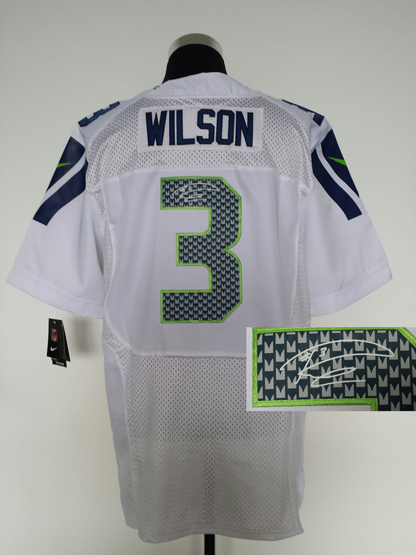 Seattle Seahawks 3 Wilson White Nike Elite With player signed Jersey