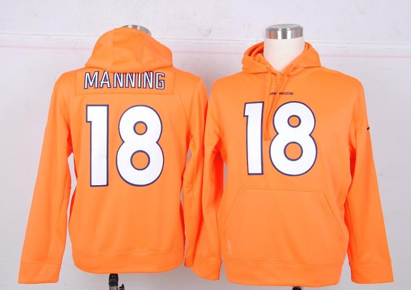 Nike NFL Denver Broncos 18 Manning Orange Hoodie