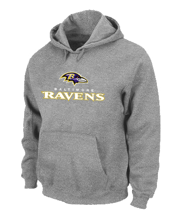 Baltimore Ravens Authentic Logo Pullover Hoodie Grey