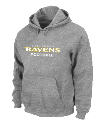 Baltimore Ravens Authentic font Pullover Hoodie Grey