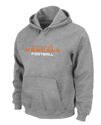 Cincinnati Bengals Authentic font Pullover Hoodie Grey