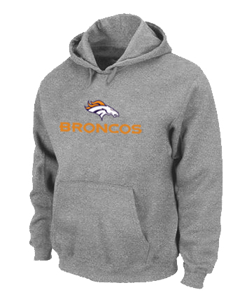 Denver Broncos Authentic Logo Pullover Hoodie Grey