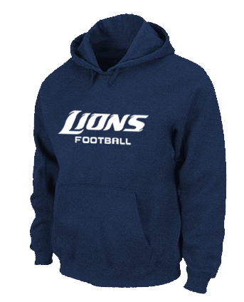 Detroit Lions Authentic font Pullover Hoodie D.Blue