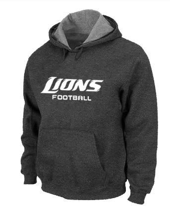 Detroit Lions Authentic font Pullover Hoodie D.Grey