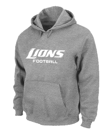 Detroit Lions Authentic font Pullover Hoodie Grey
